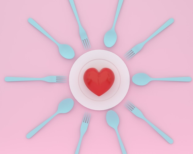 Creative of heart on plate with blue spoons and forks on pink color. minimal healthcare co Premium Photo