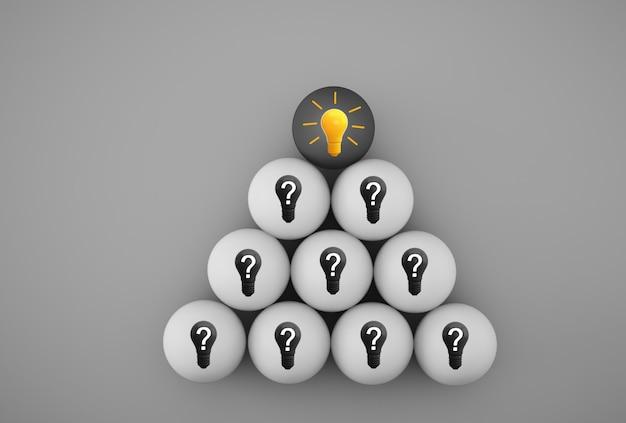 Креативная идея и инновация. желтая лампочка, раскрывающая идею с символом вопроса Premium Фотографии