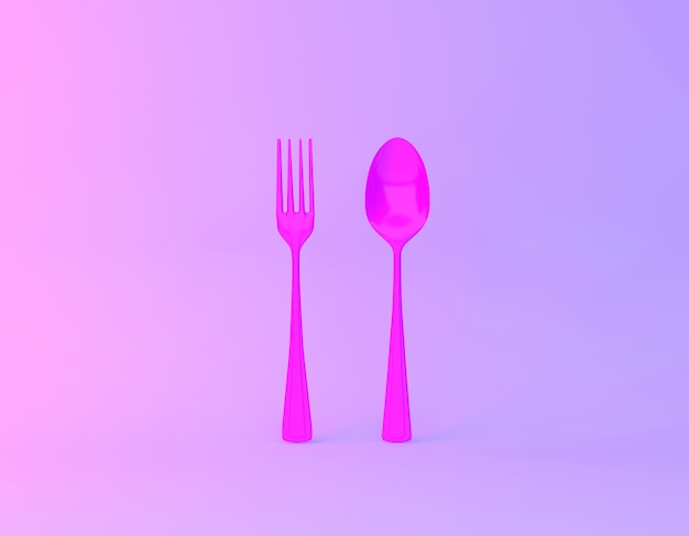 Creative idea layout made of spoons and forks  in vibrant bold gradient purple and blue holographic colors background. Premium Photo