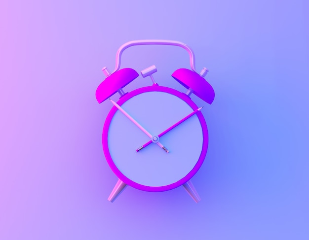Creative idea layout slice alarm clock and pencil in vibrant bold gradient purple and blue holographic colors background. Premium Photo