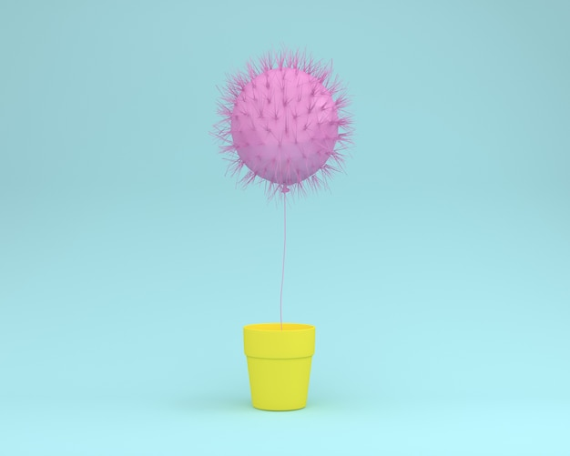 Creative layout of cactus pink floating with flower pot on blue background Premium Photo