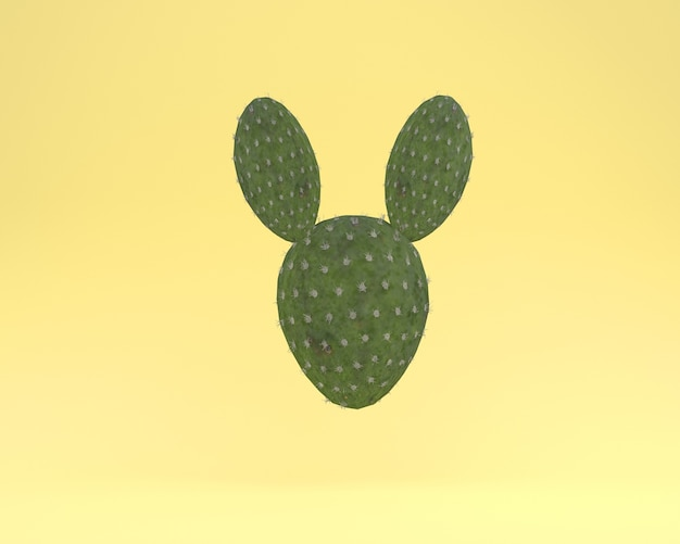 Creative layout cactus rabbit floating on yellow color background Premium Photo