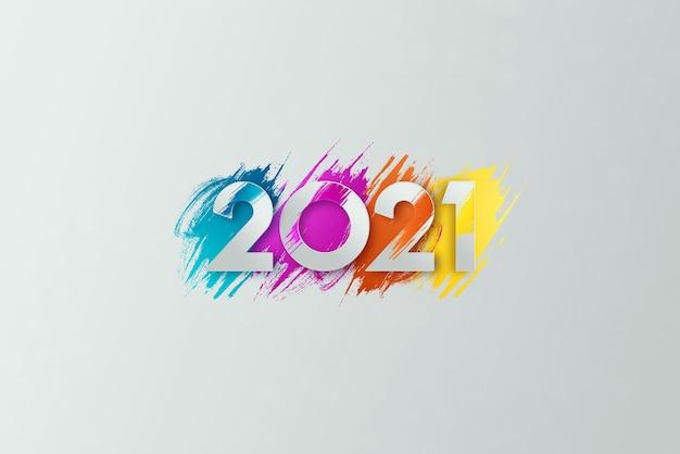 Creative luxury 2021 multicolored lettering on light background. Premium Photo