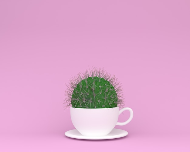 Creative made of cactus with coffee cup Premium Photo