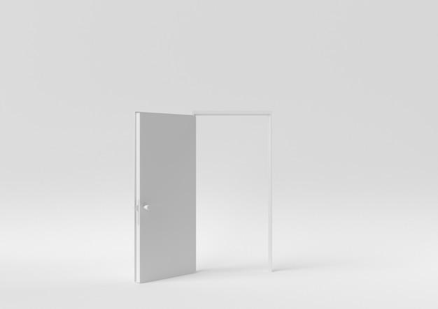 Creative minimal paper idea. concept white door with white background. 3d render, 3d illustration. Premium Photo