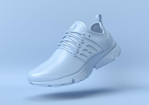 Creative minimal summer idea. concept blue shoe with pastel background. 3d render. Premium Photo