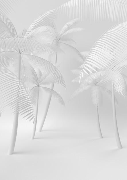 Creative minimal summer paper idea. concept white palm tree with white background. 3d render, 3d illustration. Premium Photo