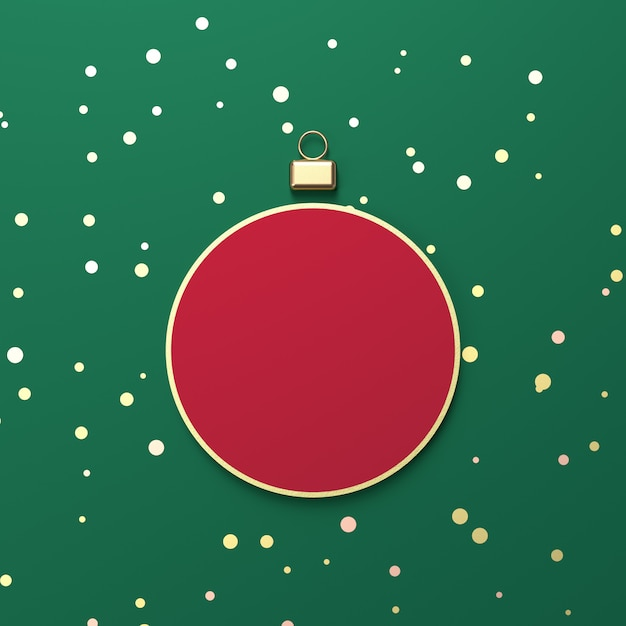 Creative red christmas ball for product display. 3d christmas background. top view. flat lay. Premium Photo