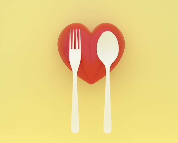 Creative of spoons and forks with heart on yellow color background. minimal healthcare con Premium Photo