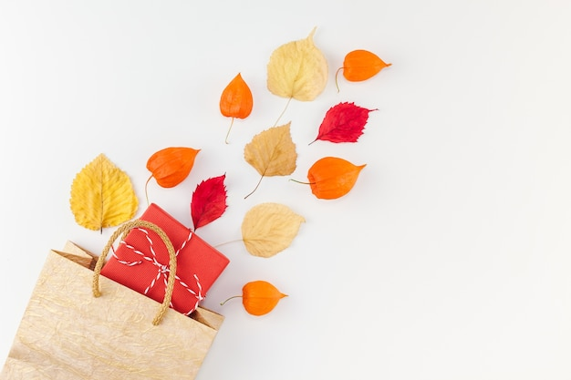 Творческий вид сверху плоская планировка осенняя композиция сумка для покупок сушеные оранжевые цветы листья фон копия пространство шаблон распродажа макет осенний урожай благодарения хэллоуин рекламные листовки Premium Фотографии