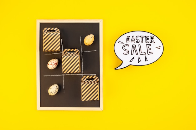 Creative top view holiday easter sale concept Premium Photo
