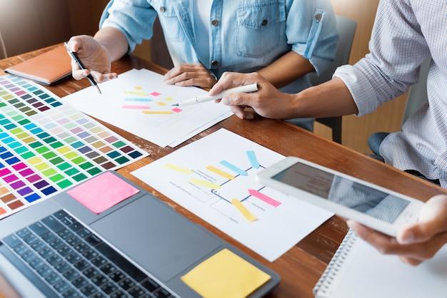 Creative ui designer teamwork meeting planning designing wireframe layout application. Premium Photo
