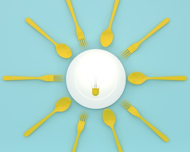 Creative of yellow light bulbs glowing on plate with spoons and forks on blue color. minim Premium Photo