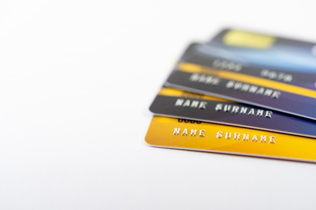Credit card, cash card cards for doing business online Premium Photo
