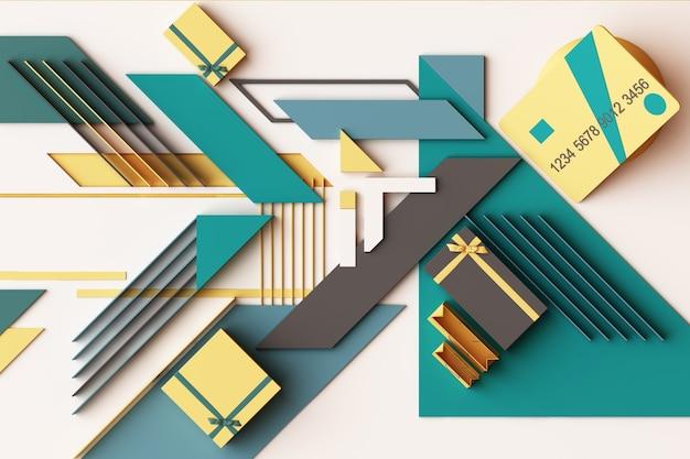 노란색과 녹색 톤의 기하학적 인 도형 플랫폼의 선물 상자 개념 추상적 인 구성 신용 카드. 3d 렌더링 프리미엄 사진