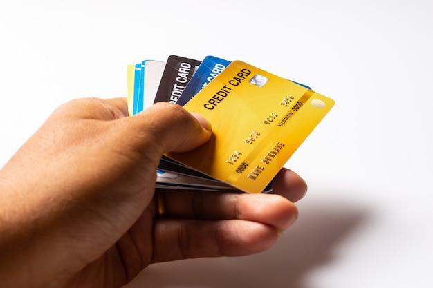 Credit cards mockup on white background. Premium Photo