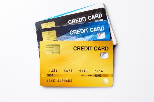 Credit cards mockup on white. Premium Photo