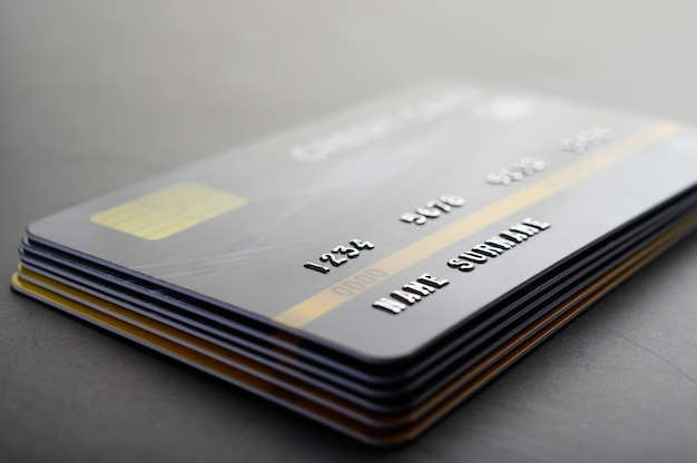 Credit cards that are stacked neatly together Free Photo