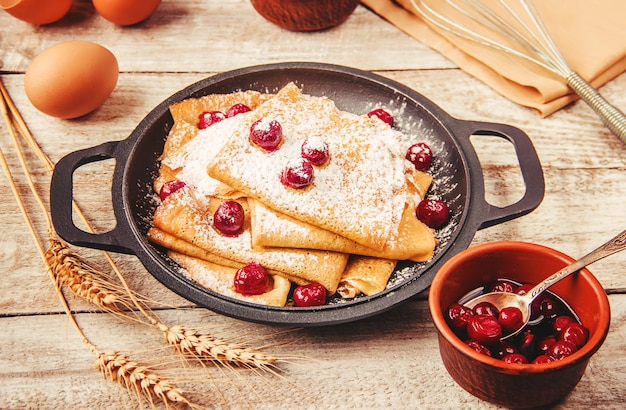 Crepes are homemade. pancakes. selective focus. food Premium Photo