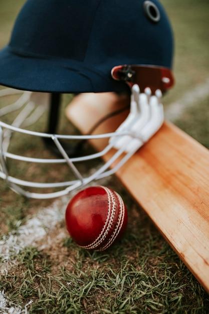 Cricket equipments on green grass Free Photo