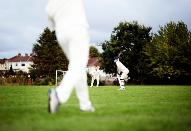 Cricketers in position ready to play Premium Photo
