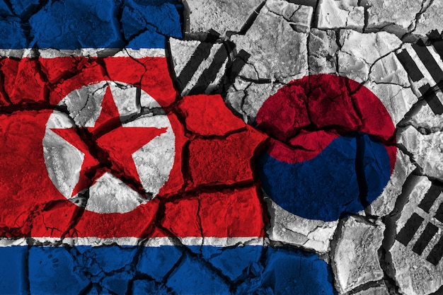 Crisis and confliction concept of south korea and north korea Premium Photo