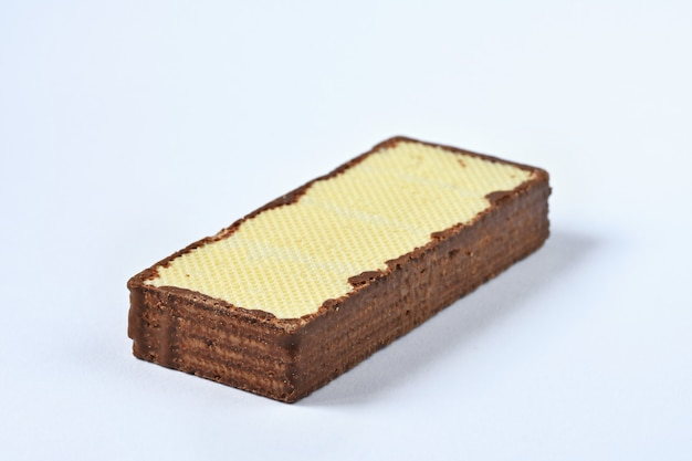 Crispy wafer, chocolate wafer flavor isolated on white background Free Photo