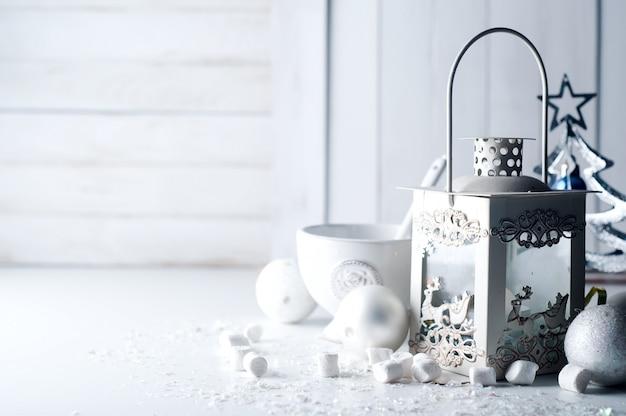 Cristmas lantern with decorations Premium Photo