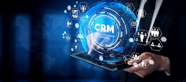ビジネス販売マーケティングシステムコンセプトのcrm顧客関係管理 Premium写真