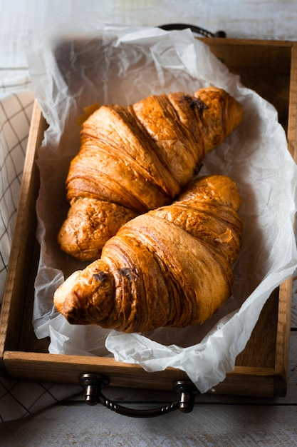 Croissants in wooden box Free Photo
