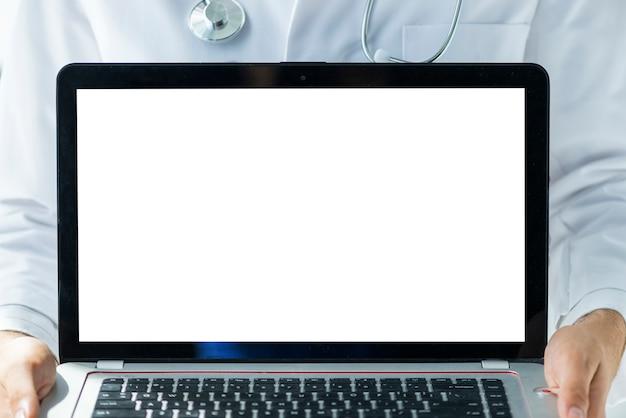Crop doctor showing modern laptop Free Photo