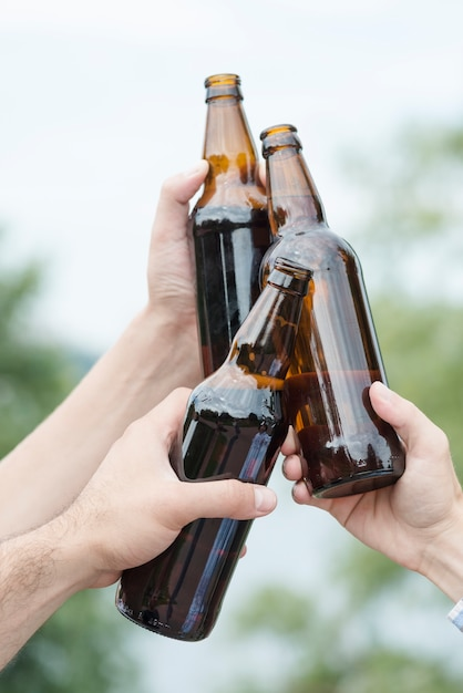 Crop hands clinking bottles in countryside Free Photo