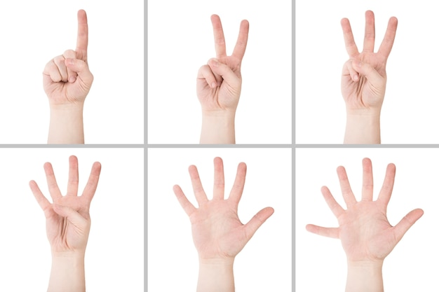 Crop hands counting to six Free Photo