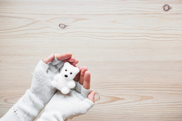 Crop hands in mittens holding white bear Free Photo