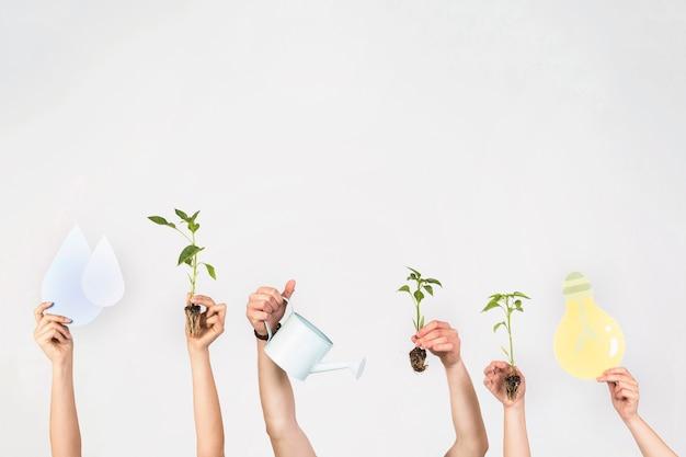 Crop hands raising up Free Photo