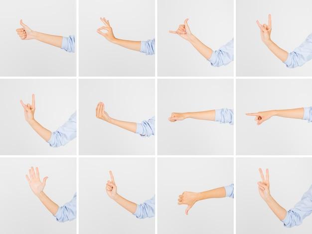 Crop hands showing various gestures Free Photo