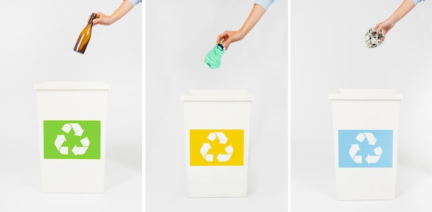 Crop hands throwing rubbish in bins Free Photo