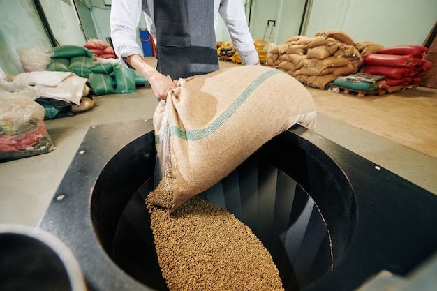 Cropped image of worker in apron putting sack of coffee beans in new big roaster Premium Photo