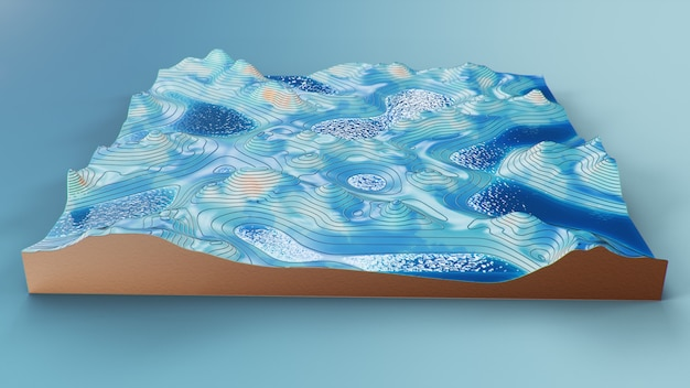 Cross section topographic 3d map with water. contour lines on a topographic map Premium Photo