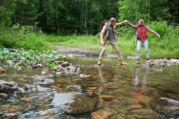 Crossing river Free Photo