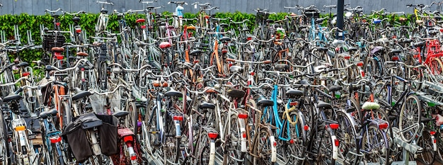 Premium Photo | Crowded bicycle park in netherlands
