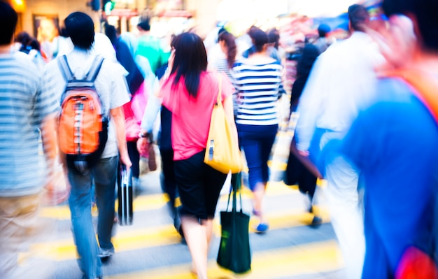Crowded crossing in hong kong, china. Free Photo