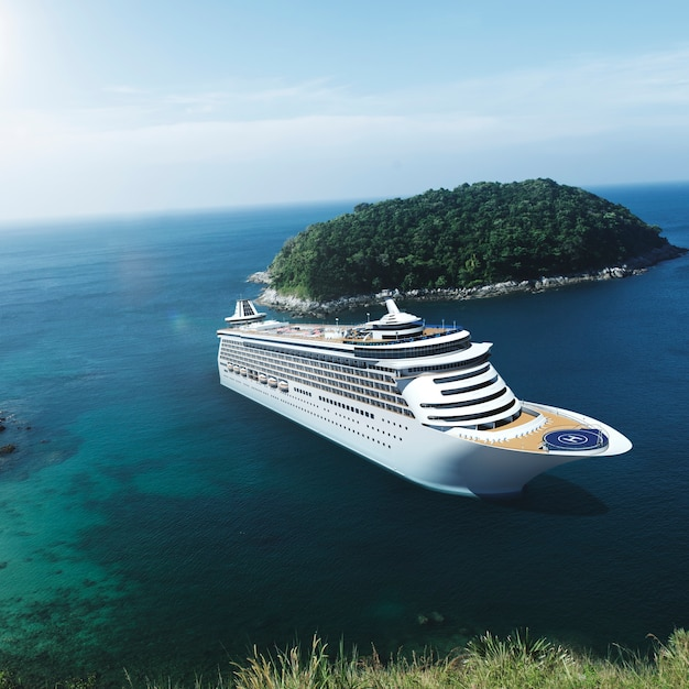 Cruise ship in the ocean with blue sky Premium Photo
