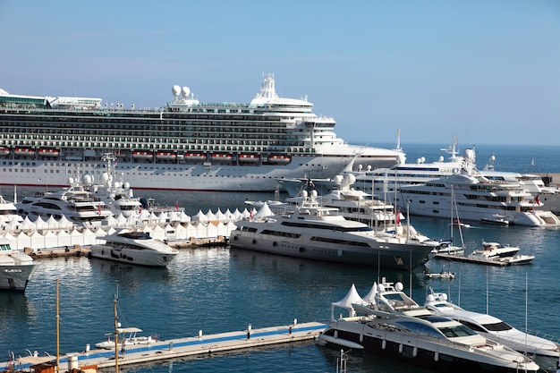 Cruise ship and yachts in monaco Free Photo