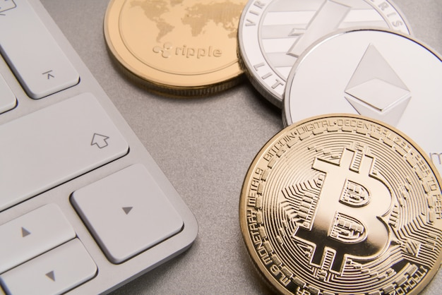 Cryptocurrency concept bitcoin, btc, ethereum, litecoins