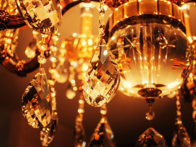 Crystal Chandelier Close Up Glamour Luxury Celebration Background With Copy Space Premium Photo