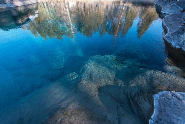 Crystal pure water of blue lake Premium Photo