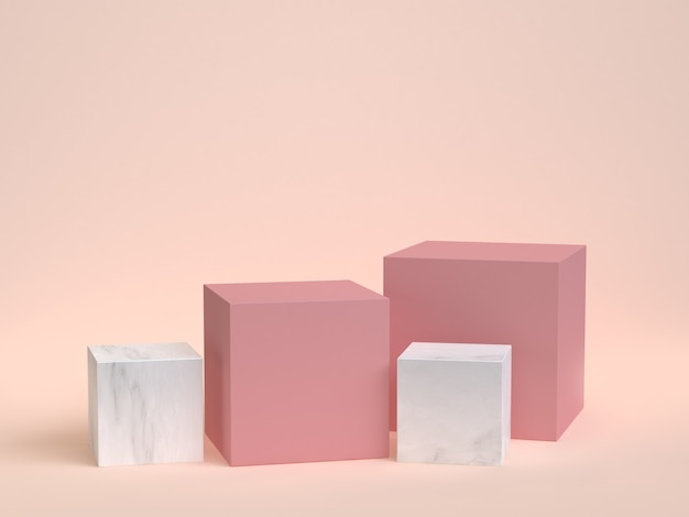 Cube-box pink marble set minimal cream 3d rendering Premium Photo