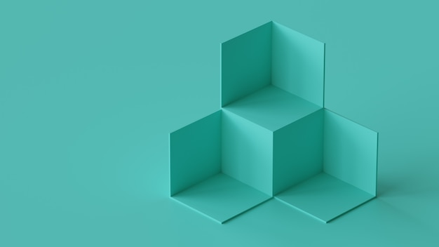 Cube boxes backdrop display on blank wall background. 3d rendering. Premium Photo