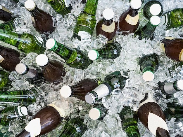 Cubes of ice and colorful bottles with cold beer Premium Photo